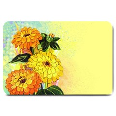 Background Flowers Yellow Bright Large Doormat