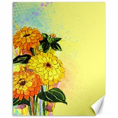 Background Flowers Yellow Bright Canvas 11  X 14