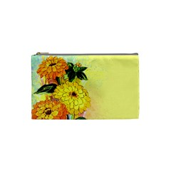 Background Flowers Yellow Bright Cosmetic Bag (small)