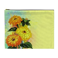 Background Flowers Yellow Bright Cosmetic Bag (xl)