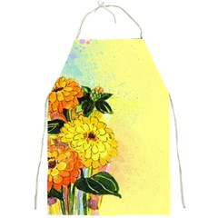 Background Flowers Yellow Bright Full Print Aprons