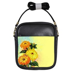 Background Flowers Yellow Bright Girls Sling Bags
