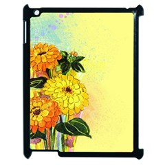 Background Flowers Yellow Bright Apple Ipad 2 Case (black)