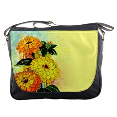 Background Flowers Yellow Bright Messenger Bags