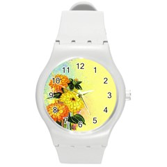 Background Flowers Yellow Bright Round Plastic Sport Watch (m)