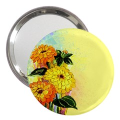 Background Flowers Yellow Bright 3  Handbag Mirrors