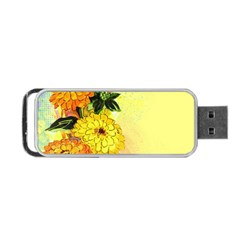 Background Flowers Yellow Bright Portable Usb Flash (two Sides)