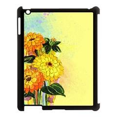 Background Flowers Yellow Bright Apple Ipad 3/4 Case (black)