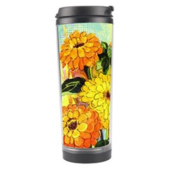 Background Flowers Yellow Bright Travel Tumbler