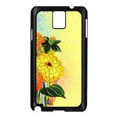 Background Flowers Yellow Bright Samsung Galaxy Note 3 N9005 Case (black)