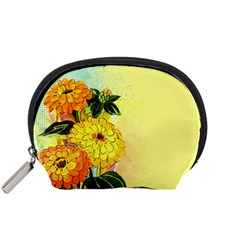 Background Flowers Yellow Bright Accessory Pouches (small)  by Nexatart