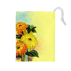 Background Flowers Yellow Bright Drawstring Pouches (large)