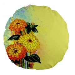 Background Flowers Yellow Bright Large 18  Premium Flano Round Cushions