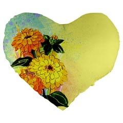 Background Flowers Yellow Bright Large 19  Premium Flano Heart Shape Cushions