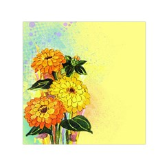 Background Flowers Yellow Bright Small Satin Scarf (square)