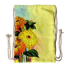 Background Flowers Yellow Bright Drawstring Bag (large)