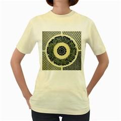 Background Vintage Japanese Women s Yellow T Shirt