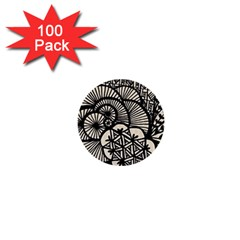 Background Abstract Beige Black 1  Mini Buttons (100 Pack)