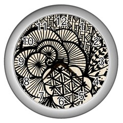 Background Abstract Beige Black Wall Clocks (silver)  by Nexatart