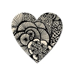 Background Abstract Beige Black Heart Magnet