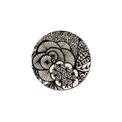 Background Abstract Beige Black Golf Ball Marker (4 Pack)