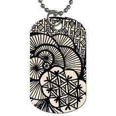 Background Abstract Beige Black Dog Tag (two Sides)