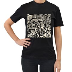 Background Abstract Beige Black Women s T Shirt (black) (two Sided)