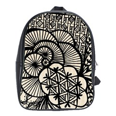 Background Abstract Beige Black School Bag (large)