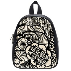 Background Abstract Beige Black School Bag (small)
