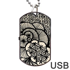 Background Abstract Beige Black Dog Tag Usb Flash (two Sides)