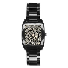 Background Abstract Beige Black Stainless Steel Barrel Watch by Nexatart