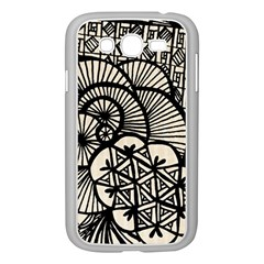 Background Abstract Beige Black Samsung Galaxy Grand Duos I9082 Case (white)