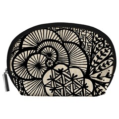 Background Abstract Beige Black Accessory Pouches (large)