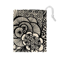 Background Abstract Beige Black Drawstring Pouches (large)