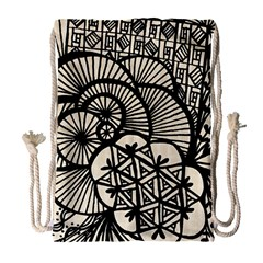Background Abstract Beige Black Drawstring Bag (large)