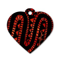 Background Abstract Red Black Dog Tag Heart (one Side)