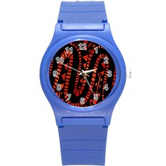 Background Abstract Red Black Round Plastic Sport Watch (s)