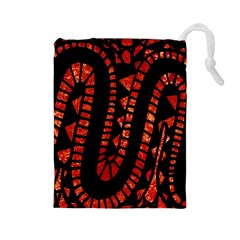 Background Abstract Red Black Drawstring Pouches (large)