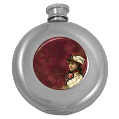 Vintage Edwardian Scrapbook Round Hip Flask (5 Oz)