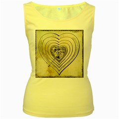 Heart Drawing Angel Vintage Women s Yellow Tank Top