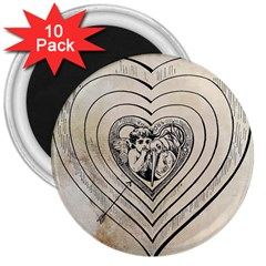 Heart Drawing Angel Vintage 3  Magnets (10 Pack)