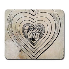 Heart Drawing Angel Vintage Large Mousepads