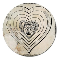 Heart Drawing Angel Vintage Magnet 5  (round)