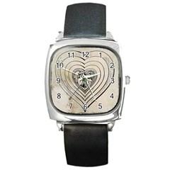Heart Drawing Angel Vintage Square Metal Watch