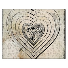 Heart Drawing Angel Vintage Rectangular Jigsaw Puzzl by Nexatart