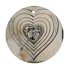 Heart Drawing Angel Vintage Round Ornament (two Sides)