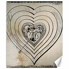 Heart Drawing Angel Vintage Canvas 8  X 10