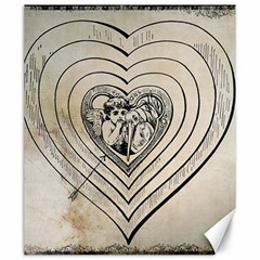 Heart Drawing Angel Vintage Canvas 20  X 24