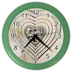 Heart Drawing Angel Vintage Color Wall Clocks