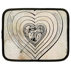 Heart Drawing Angel Vintage Netbook Case (large)